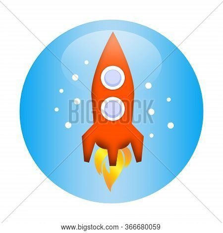 Space Rocket Launching, Scientific Illustration Isolated On White Background