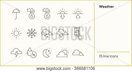 Weather Line Icon Set. Thermometer, Environment, Summer. Precipitation Concept. Can Be Used For Topi