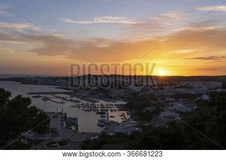 Sunset At Santa Maria Di Leuca. Santa Maria Di Leuca, Colonna Corinzia - Salento, Lecce, Apulia, Ita