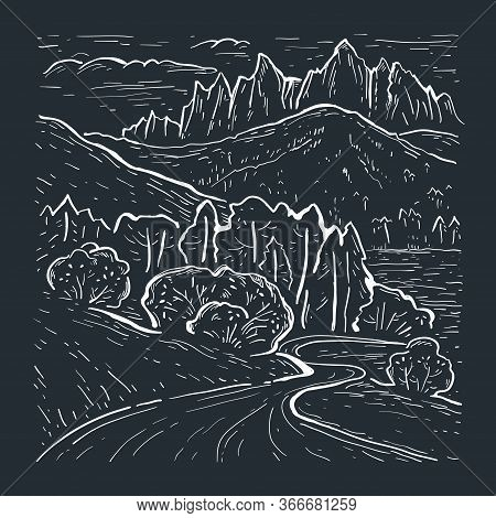 Engraving Style. Landscape Sketch With Dolomites Mountains. Italy, Europe. Hand Drawn Vector Illustr
