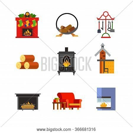 Fireplace Concept Icon Set. Christmas Wood Holder With Logs Accessories Firewood Metal Fireplace Fir