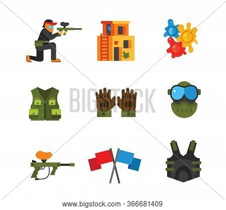 Paintball Icon Set. Player With Gun Playing Area Paintball Balls Hunting Vest Protective Gloves Prot