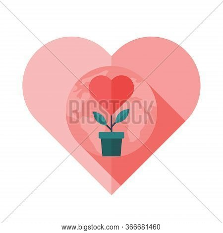 Growth Support And Philanthropy Concept. Heart Symbol With World Globe And A Growing Plant. Sign Of