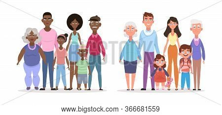 Afroamerican European Family. Smiling Parents Elderly Grandfather Grandmother Young Father Mother Ch