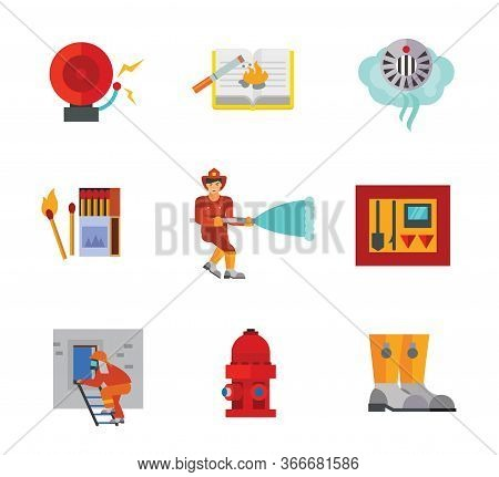 Firefighting Icon Set. Alarm Bell Cigarette Causing Fire Smoke Detector Burning Match Firefighter At