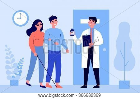 Disabled Person Visiting Doctor Office. Blind Woman, Assistant, Hospital Flat Vector Illustration. D