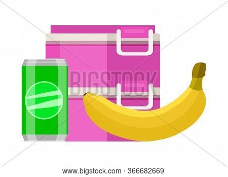 Lunchbox School Snack. Pink Two Tier Food Container Lunchbox Yellow Ripe Banana Green Soda Can Healt