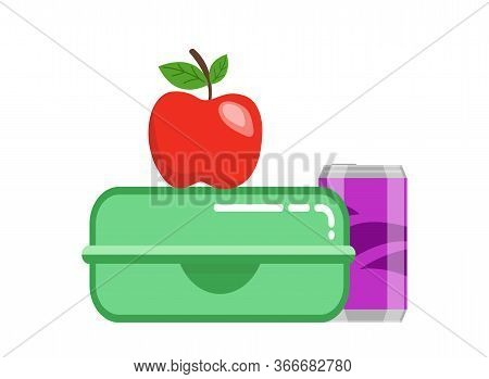 School Lunchbox Snack. Food Container Green Lunchbox Red Juicy Apple Purple Soda Can Healthy Fresh B