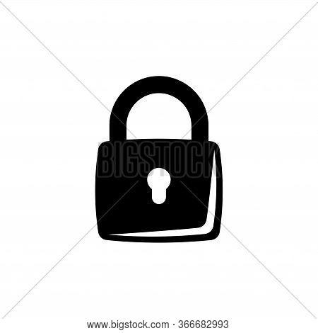 Closed Lock, Mechanical Padlock. Flat Vector Icon Illustration. Simple Black Symbol On White Backgro