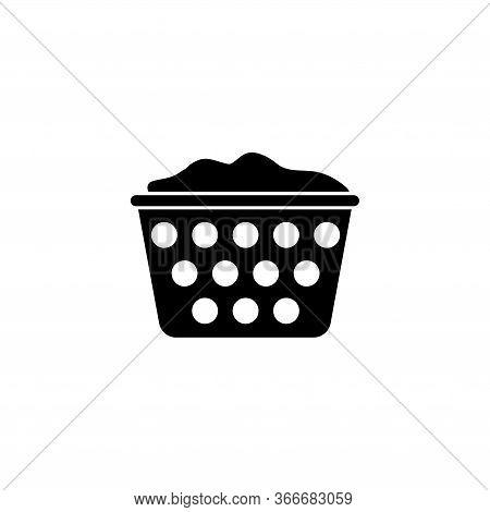 Laundry Basket, Washing, Household. Flat Vector Icon Illustration. Simple Black Symbol On White Back