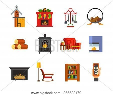 Fireplace Icon Set. Fireplace Scheme Christmas Accessories Wood Holder Firewood Metal Fireplace Couc