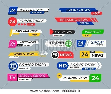 Broadcasting Screen Bars Flat Headers Collection. Modern Breaking News Banners Vector Illustration S