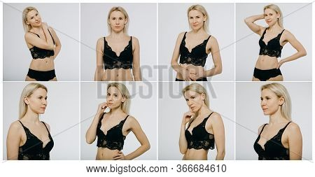 Snaps Models. Young Models For Modeling Agency On A White Background. Portrait Of A Beautiful Blonde
