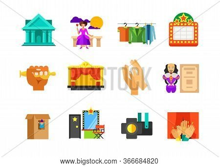 Theatre Icon Set. Theatre Performance Stage Costumes Shining Bigboard Hand Holding Oscar Stage Clapp
