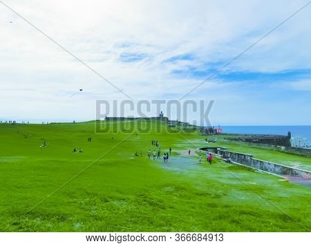 San Juan, Puerto Rico - May 08, 2016: The People Resting Near Fort San Cristobal In San Juan, Puerto