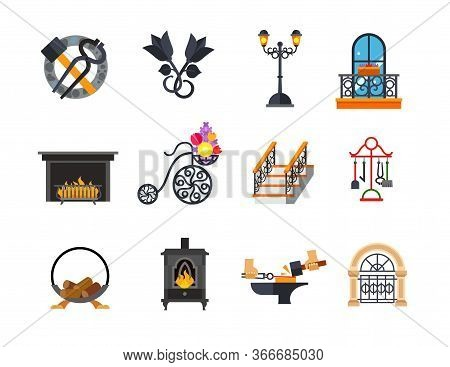 Metalwork Icon Set. Blacksmith Tools Metal Roses Outdoor Street Lamp Forged Balcony Fireplace Flower