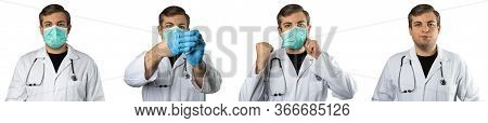 Caucasian Man Posing As A Medical Doctor In White Overall Or Scrub With Stethoscope Around A Neck Ta