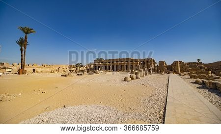 Karnak Temple In Luxor, Egypt. The Karnak Temple Complex, Commonly Known As Karnak, Comprises A Vast