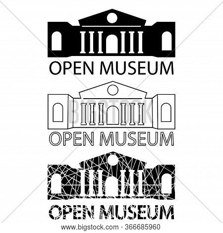 Museum Building Icon. Open Museum Signboard. Set Of Museum Icons. Building In Flat, Outline And Glyp