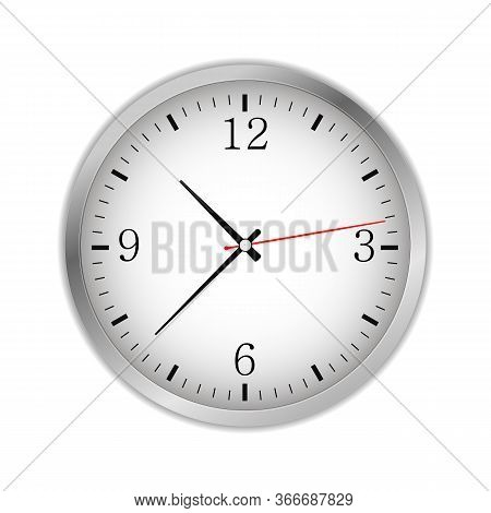 Office Circle Retro Analog Clock With Black Hands And Numbers - Time, Vector Art Image Illustration,