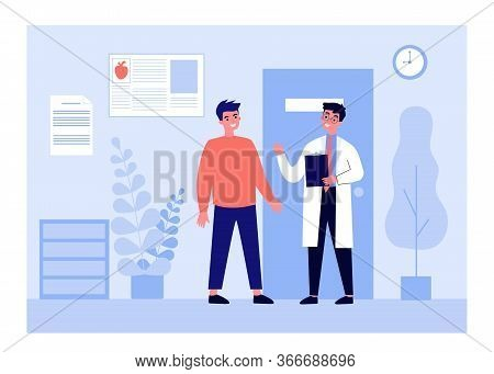 Patient Visiting Doctor Office. Young Man Consulting Physician In Hospital Or Clinic. Can Be Used Fo