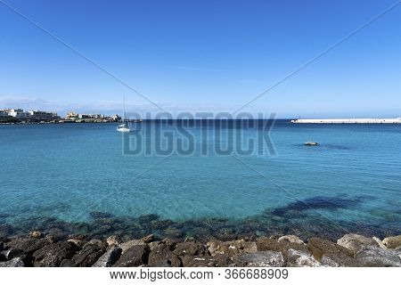 Beautiful Otranto Bay, Famous Italian City In Salento, Puglia. The Beautiful Beach Bay Of Otranto In