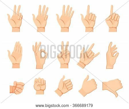 Human Hand Gestures Set. Arms And Wrists, Amount Signs, Open Palm, Pointing With Finger, Greeting, F