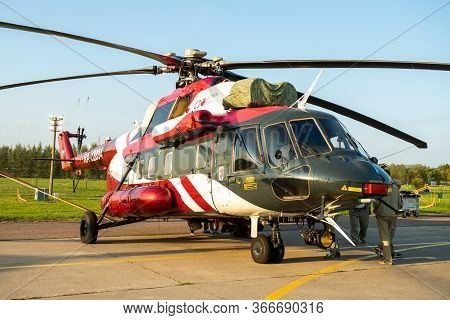 August 30, 2019. Zhukovsky, Russia. Russian Multi-purpose Helicopter Mil Mi-171 (mi-8) At The Intern