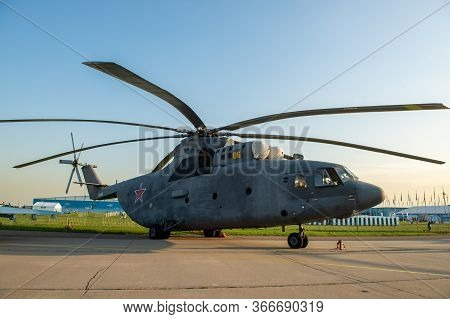 August 30, 2019. Zhukovsky, Russia. Russian Heavy Multi-purpose Transport Helicopter Mil Mi-26 At Th