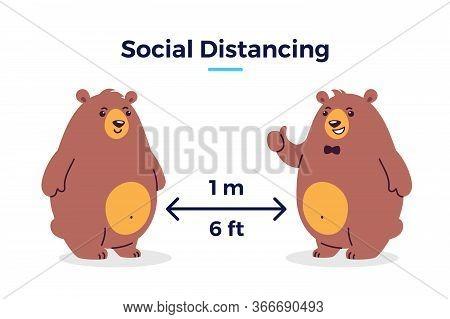 Social Distancing Image Covid-19 - Keep Your Distance 1 M / 6 Feet Icon - Cartoon Vector Illustratio