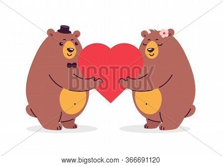 Cartoon Illustration Of Two Happy Bears In Love Holding A Red Heart. Illustration Is Great For Weddi