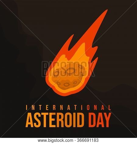 Vector Illustration Of Flying Asteroid Stone In Space. Good Template For Space Design, Or Internatio