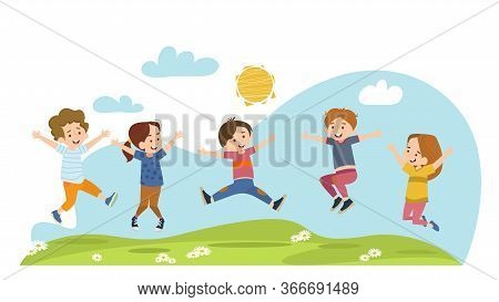 Happy Children Jumping On Summer Meadow Flat Vector Illustration. Cartoon Boys And Girls Playing In