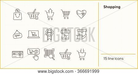Shopping Line Icon Set. Cart, Order, Discount. Supermarket Concept. Can Be Used For Topics Like Reta