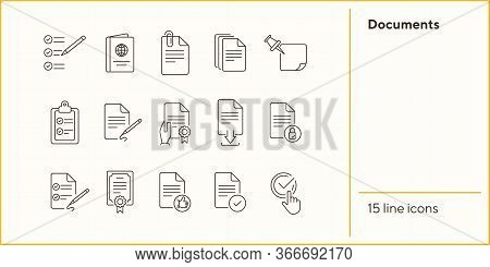 Documents Line Icon Set. Papers, Clipboard, Checklist. Paperwork Concept. Can Be Used For Topics Lik