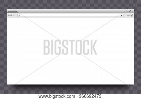 Interface Of Browser Window. Website Page, Web Window Screen. Modern Internet Web Browser. Mockup On