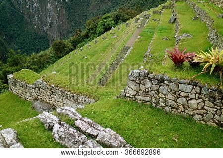 Remains Of Inca Agricultural Terraces On The Mountain Slope Of Machu Picchu Citadel, Sacred Valley O