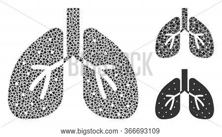 Collage Lungs Icon Constructed From Trembly Parts In Random Sizes, Positions And Proportions. Vector