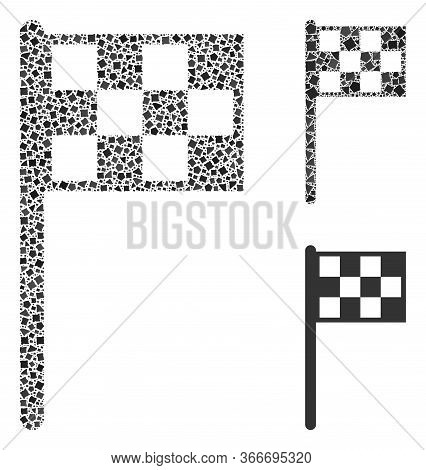 Mosaic Final Flag Icon Constructed From Uneven Parts In Different Sizes, Positions And Proportions.