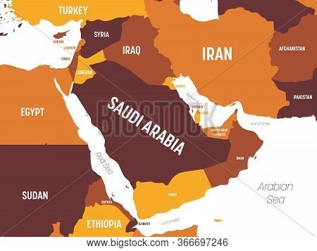 Middle East Map - Brown Orange Hue Colored On Dark Background. High Detailed Political Map Of Middle
