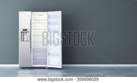 Open Modern side by side Stainless Steel Refrigerator. Fridge Freezer. 3d rendering