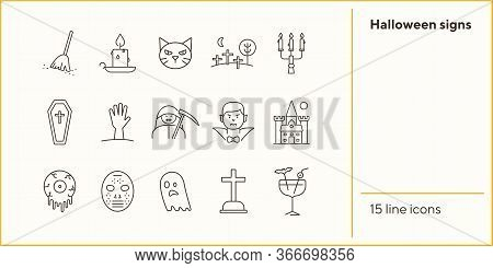 Halloween Signs Icons. Cat, Dracula, Crossed Bones. Halloween Concept. Vector Illustration Can Be Us
