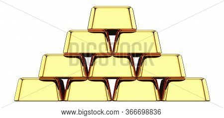 Front View Of Stack Of Gold Bullions Isolated On White Background. 3d Rendering Illustration Of Gold