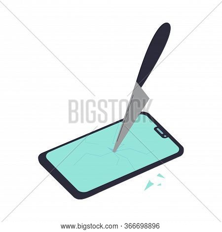 The Smartphone Is Broken By A Knife.gadget, News And Digital Devices Detox Concept.stress From Exces