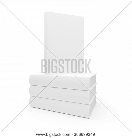 Stack Of Blank White Hardcover Books Template Mock-up On White Background - 3d Illustration