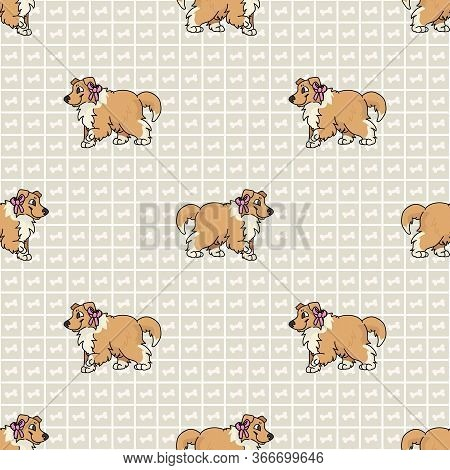 Hand Drawn Cute Rough Collie Breed Puppy With Pink Bow Seamless Vector Pattern. Purebred Pedigree Do
