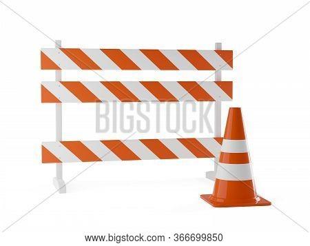 Single Orange Traffic Warning Cone Or Pylon With Street Barrier On White Background - Under Construc