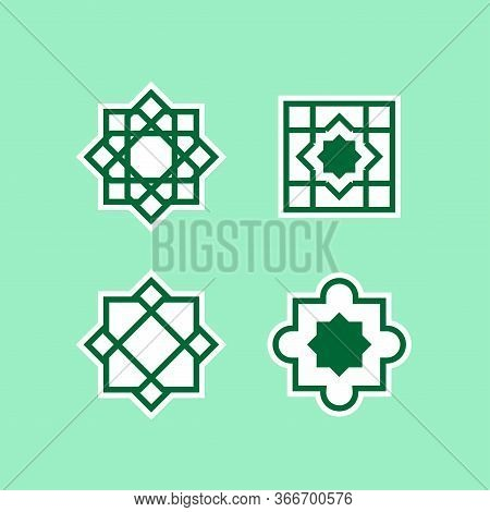 Arabic Ornamen Vector, Geometric Symbols,turkish, Arabian Tile On A White Background.