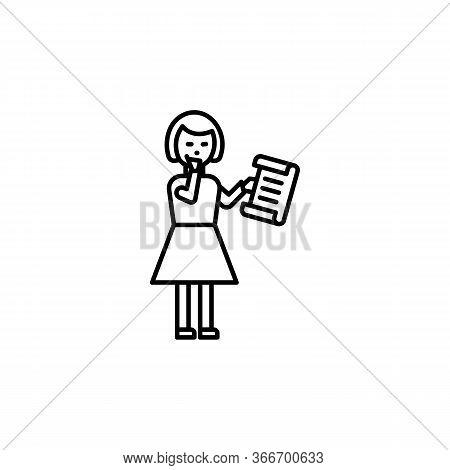 Girl Reading Poem Line Illustration Icon On White Background