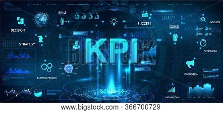 Kpi Futuristic Banner In Hud Style With Aspects, Graphics And Icons. Business Analytics (ba), Key Pe